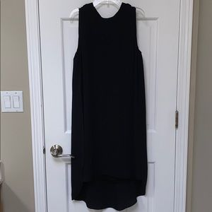 Black flared mini dress
